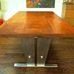 Stainless Steel & Walnut Dining Table -