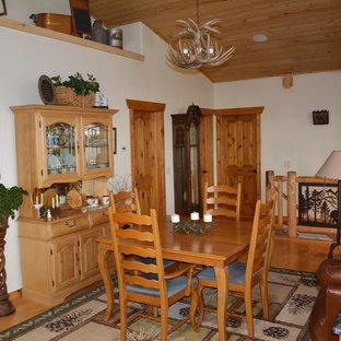 Modelo de comedor rural, de tamaño medio, abierto, con paredes blancas, suelo de linóleo, chimenea tradicional y marco de chimenea de hormigón