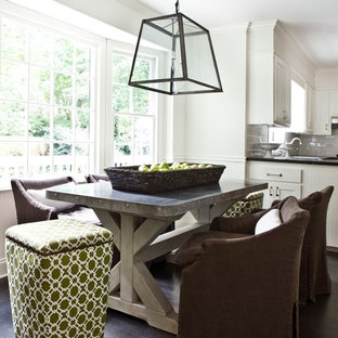 Inspiration for a contemporary dining room remodel in Atlanta with white walls