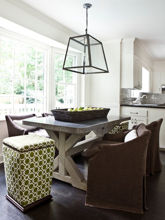 Hammered Zinc Dining Table Houzz - Zinc dining room table