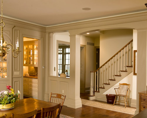 Entry with half wall dining room design ideas renovations for Dining room entrance ideas