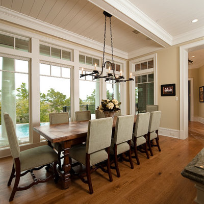 Inspiration for a mid-sized timeless medium tone wood floor kitchen/dining room combo remodel in Charleston with beige walls