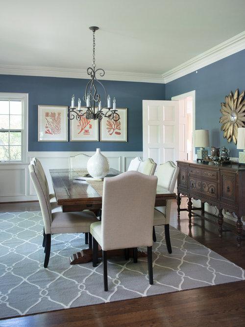 Rustikale esszimmer mit blauer wandfarbe ideen design - Wandfarbe esszimmer ...