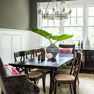 Enclosed dining room - large transitional enclosed dining room idea in Atlanta with gray walls
