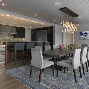 Kitchen/dining room combo - mid-sized contemporary light wood floor and beige floor kitchen/dining room combo idea in Burlington with gray walls and no fireplace