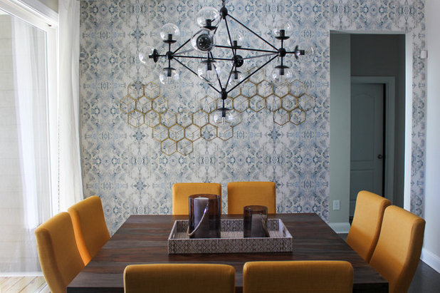 Transitional Dining Room by TEW Design Studio
