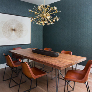 Small transitional light wood floor and brown floor enclosed dining room photo in Los Angeles with green walls