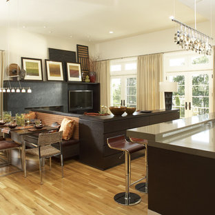 Design ideas for a modern open plan dining room in Minneapolis.