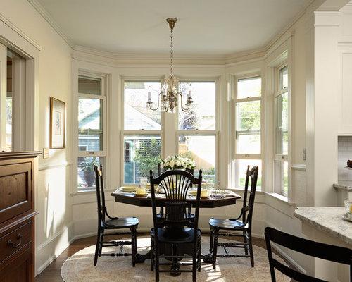 Medium Sized Classic Kitchen Dining Room In Minneapolis With White Walls Dark Hardwood Flooring