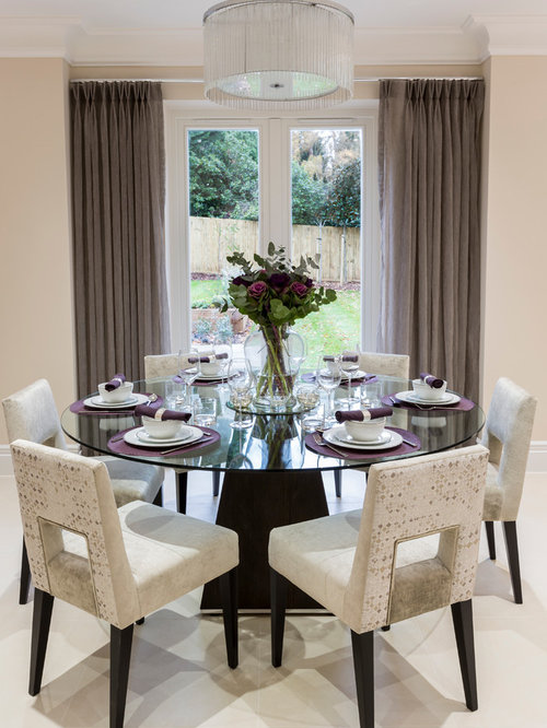 Inspiration For A Transitional Dining Room Remodel In Surrey With Beige  Walls