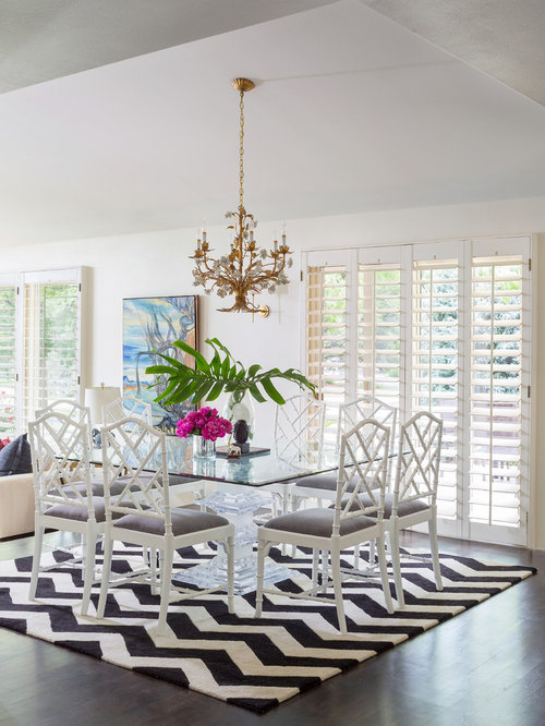 Good Eclectic Dining Room Ideas Part - 4: Great Room - Eclectic Dark Wood Floor Great Room Idea In Denver With White  Walls
