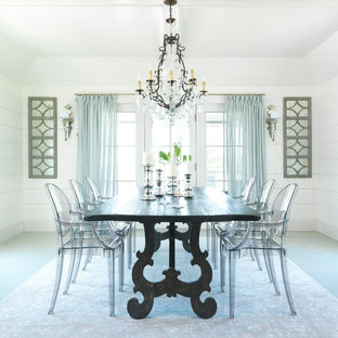 Dining room - coastal dining room idea in Boston with white walls