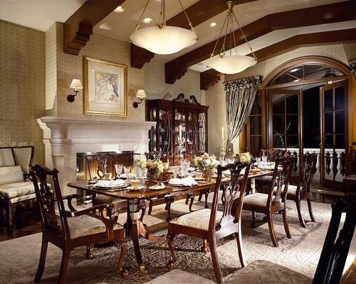 High Quality Large Victorian Dining Room Idea In Los Angeles With Dark Hardwood Floors  And A Standard Fireplace