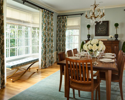 Large Traditional Enclosed Dining Room Idea In Portland With Blue Walls And Medium Tone Wood Floors