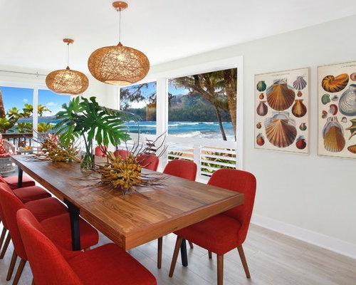 Beach Style Beige Floor Kitchen/dining Room Combo Idea In Hawaii With White  Walls