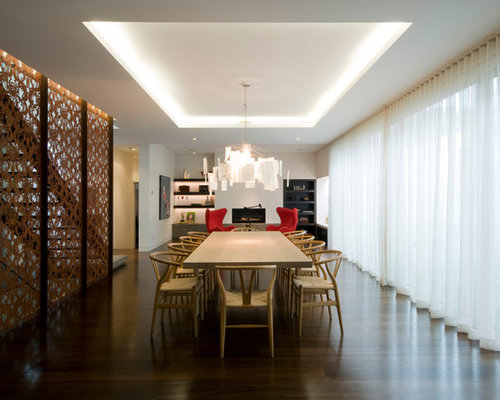 Inspiration For A Huge Modern Dark Wood Floor Great Room Remodel In  Melbourne With White Walls