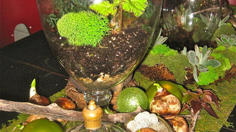 Tablescape using Terrariums, Living Wreaths and natural elements