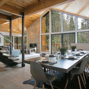 Diseño de comedor moderno, de tamaño medio, abierto, con paredes blancas, suelo de madera en tonos medios y marco de chimenea de metal