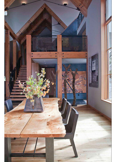Rustic Dining Room by WA Design Architects