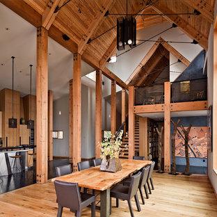 Diseño de comedor de cocina rústico con paredes blancas y suelo de madera en tonos medios