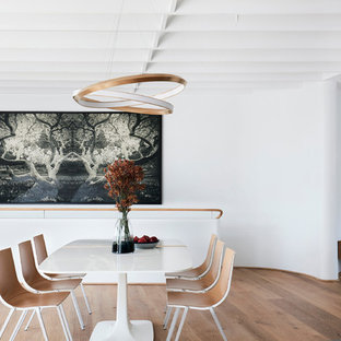 Photo of a modern dining room in Sydney with medium hardwood floors and brown floor.