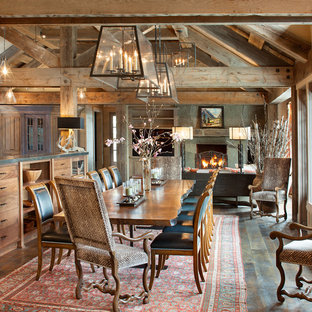 This is an example of a country open plan dining in Other.