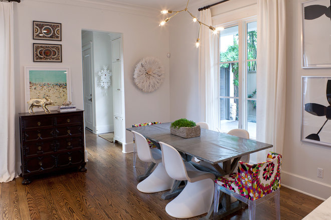 Transitional Dining Room by Sally Wheat Interiors