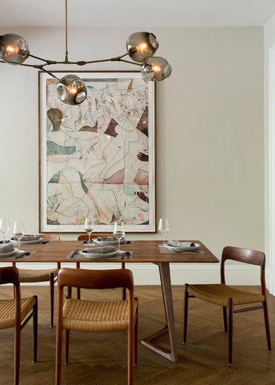 Transitional Dining Room by Tanya Capaldo Designs