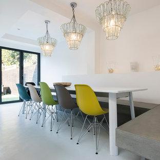 Idee per una grande sala da pranzo aperta verso il soggiorno minimal con pavimento in cemento e pareti bianche