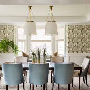 Inspiration for a large transitional carpeted and beige floor dining room remodel in Boston with multicolored walls and no fireplace