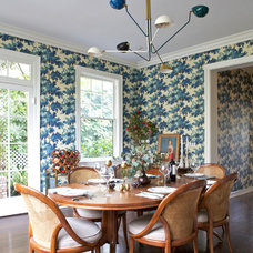 Transitional Dining Room by Amy Bartlam Photography