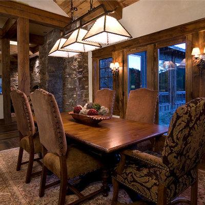 Kitchen/dining room combo - rustic medium tone wood floor kitchen/dining room combo idea in Denver