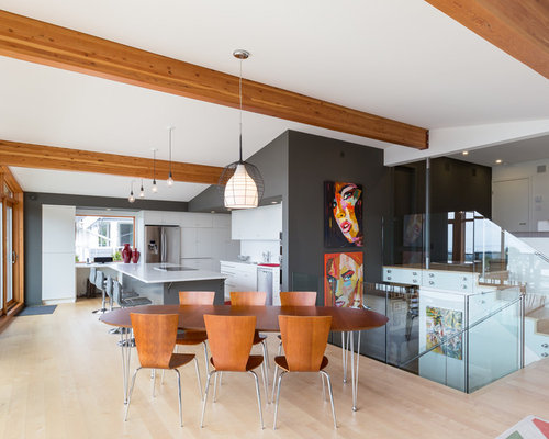 Example Of A Mid Sized Trendy Light Wood Floor Great Room Design In Vancouver With