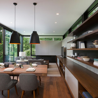 Terraced House - Elm Grove - Modern Open Dining Room with Concrete Walls