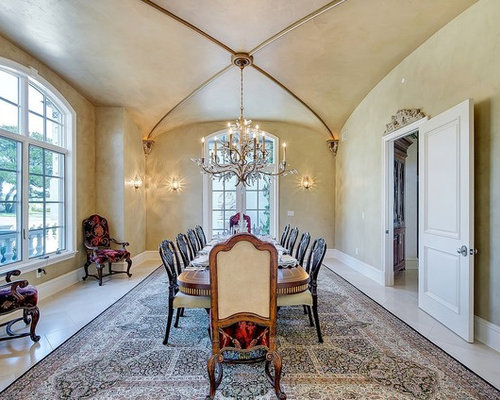 Tuscan Enclosed Dining Room Photo In Santa Barbara With Beige Walls