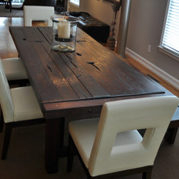 The Clayton Dining Table - farm style rustic rugged reclaimed hand crafted dining table crafted from cherry timbers