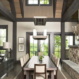 Large mountain style light wood floor great room photo in Other with white walls, a two-sided fireplace and a stone fireplace