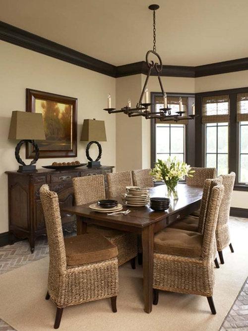 Einrichten Esszimmer rustikaler Esstisch landhausstil Tischdeko Lederstühle