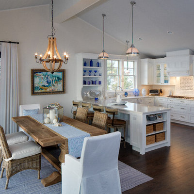 Inspiration for a coastal dark wood floor kitchen/dining room combo remodel in DC Metro with beige walls