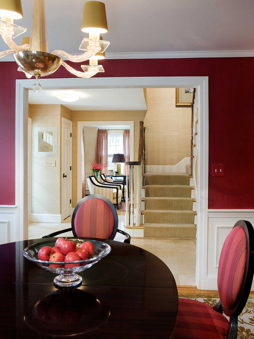 Example Of A Classic Dining Room Design In Boston With Red Walls Part 49
