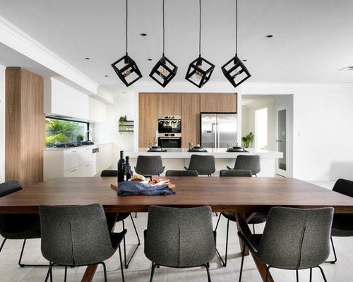 Contemporary Open Plan Dining In Perth With White Walls And Grey Floor