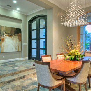 Dining room - contemporary dining room idea in Tampa with gray walls