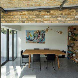 Foto de comedor minimalista, de tamaño medio, con paredes blancas, suelo de cemento y suelo gris