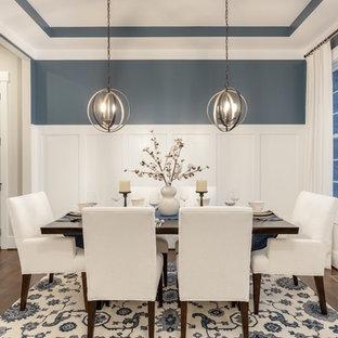 Exempel på en klassisk separat matplats, med blå väggar, mellanmörkt trägolv och brunt golv