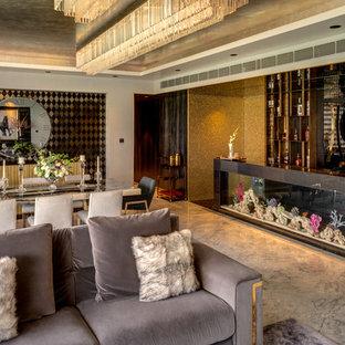Idee per una sala da pranzo minimal di medie dimensioni con pareti grigie, pavimento in marmo e pavimento grigio