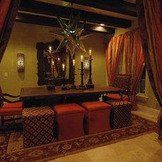 Mediterranean Dining Room by Peridot Decorators, Inc.