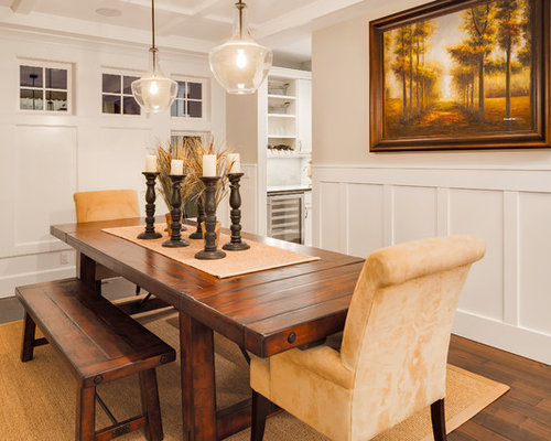 Traditional Dining Room Idea In Vancouver With Beige Walls And Dark Wood Floors