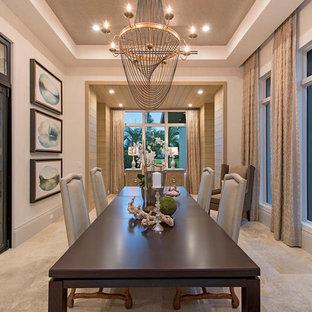 Новый формат декора квартиры: огромная отдельная столовая в стиле современная классика с белыми стенами и полом из травертина