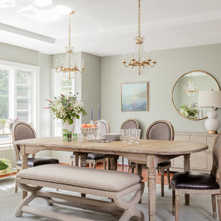 Inspiration for a large transitional dark wood floor and brown floor enclosed dining room remodel in Boston with green walls
