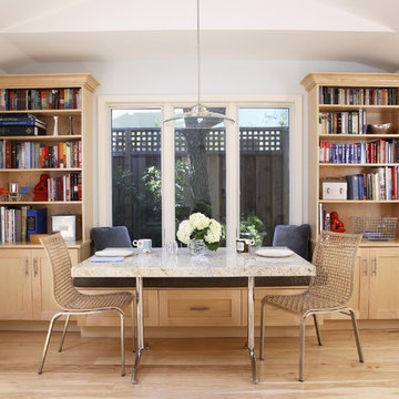 the nook has a custom table that matches the counters